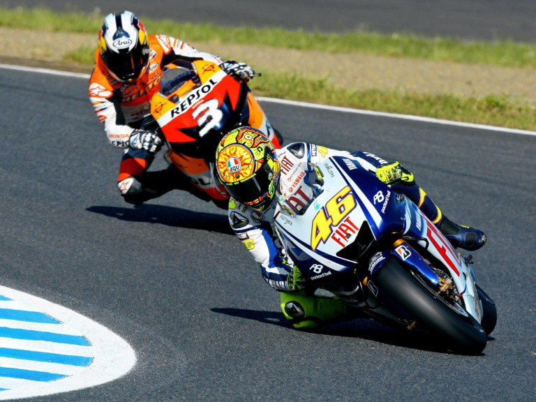 Valentino Rossi and Dani Pedrosa in action in Motegi
