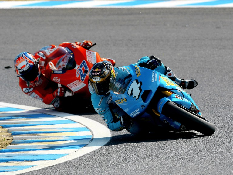 Chris Vermeulen and Casey Stoner in action in Motegi