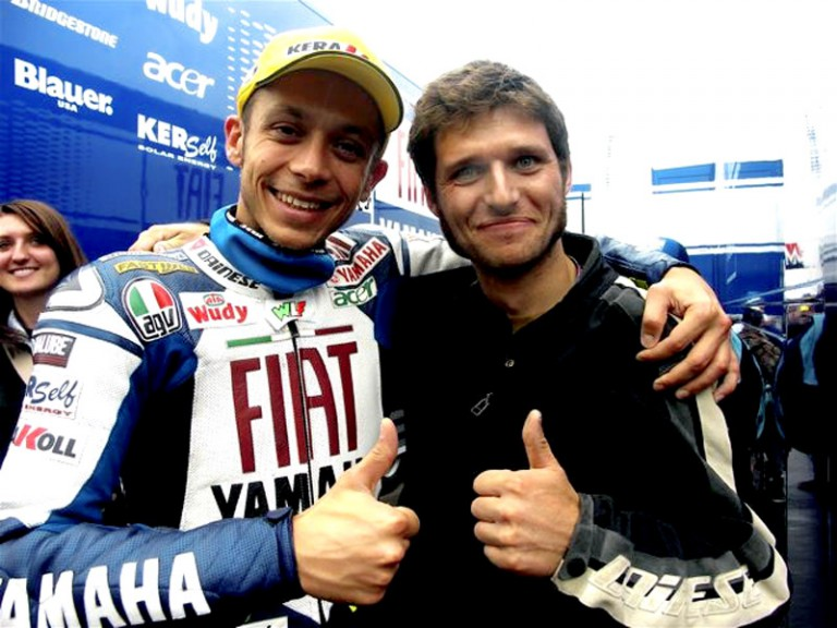 Valentino Rossi and fellow Dainese rider Guy Martin