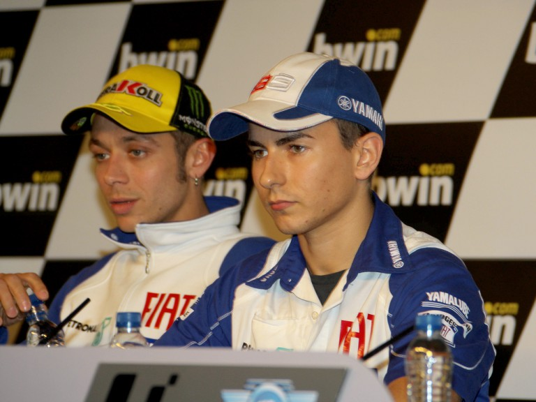 Jorge Lorenzo and Valentino Rossi at the gran Premio bwin.com de España Press Conference
