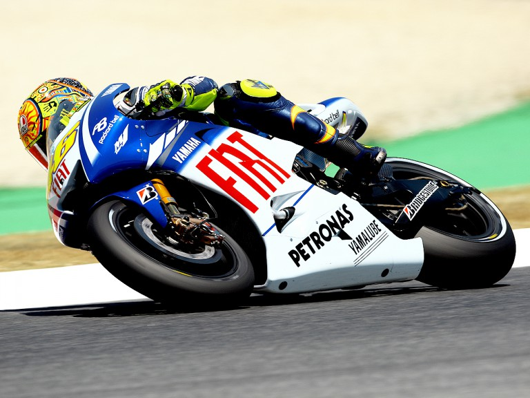 Valentino Rossi in action in Montmeló