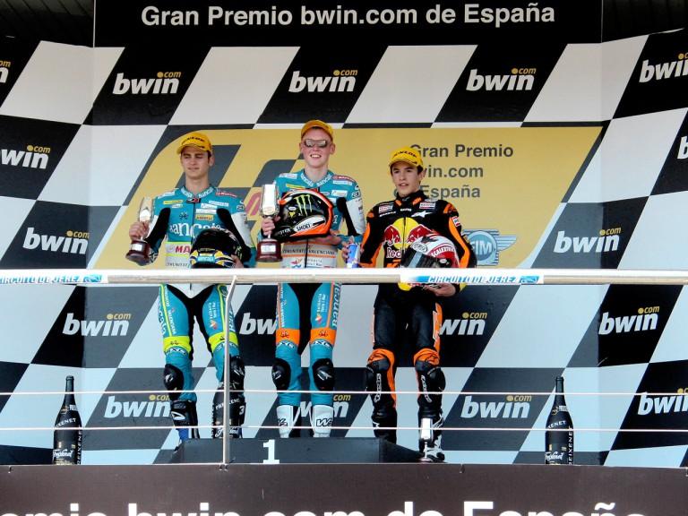 Sergio Gadea, Bradley Smith and Marc Marquez on the Podium at Jerez