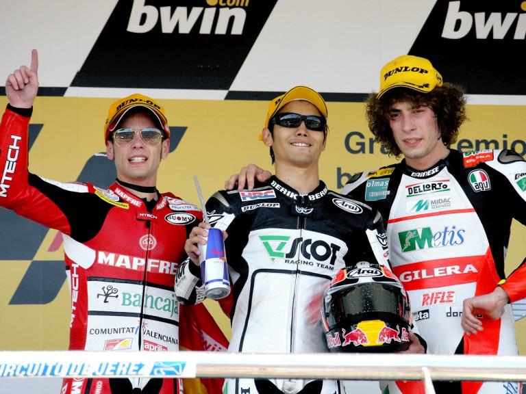 Alvaro Bautista, Hiroshi Aoyama and Marco Simoncelli on the Podium at Jerez