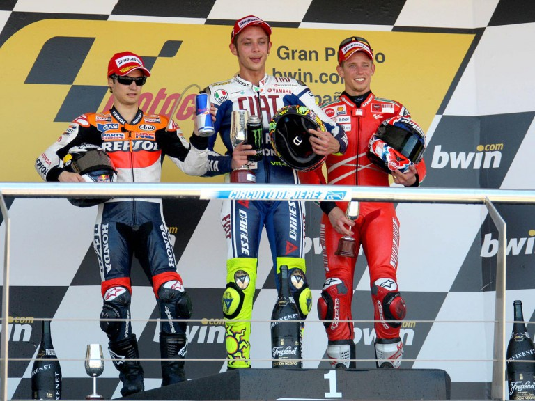 Dani Pedrosa, Valentino Rossi and Casey Stoner on the Podium at Jerez