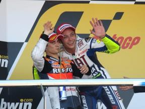 Valentino Rossi and Dani Pedrosa on the Podium at Jerez