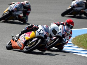 Danny Kent and Sturla Fagerhaug battling for the lead in Jerez