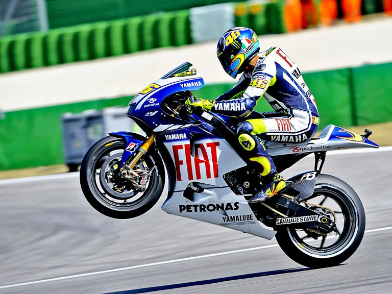 Valentino Rossi in action in Misano