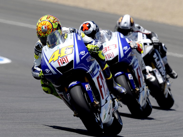Valentino Rossi riding ahead of Jorge Lorenzo and Randy de Puniet  during MotoGP race in Jerez