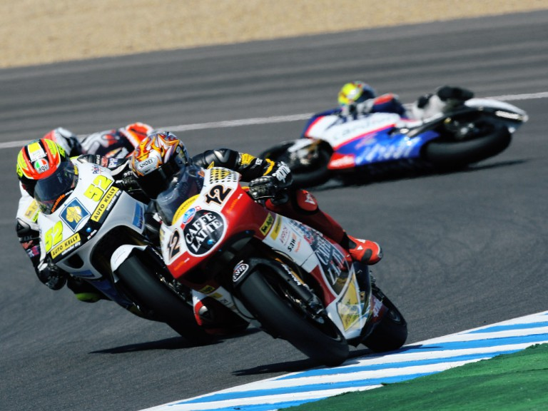 Karel Abraham crashes during 250cc race in Jerez
