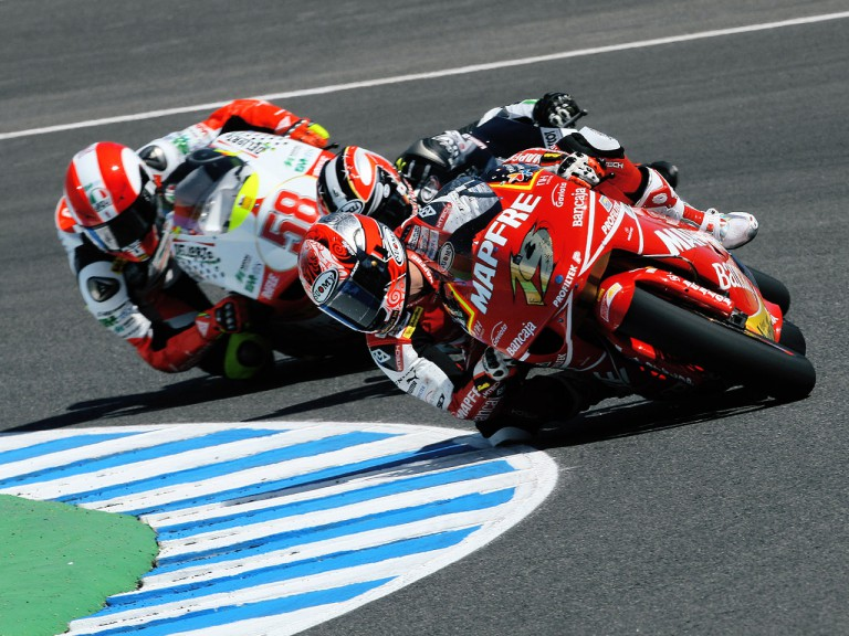 Alvaro Bautista, Hiroshi Aoyama and Marco Simoncelli in action in Jerez