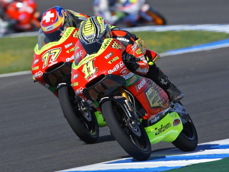Sandro Cortese riding side-by-side with Dominique Aegerter in Jerez