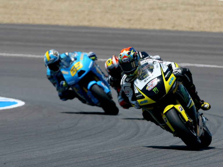 Colin Edwards riding ahead of Marco Melandri and Loris Capirossi in Jerez
