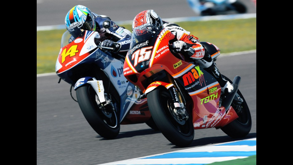 Mattia Pasini riding side-by-side with Ratthapark Wilairot at Jerez