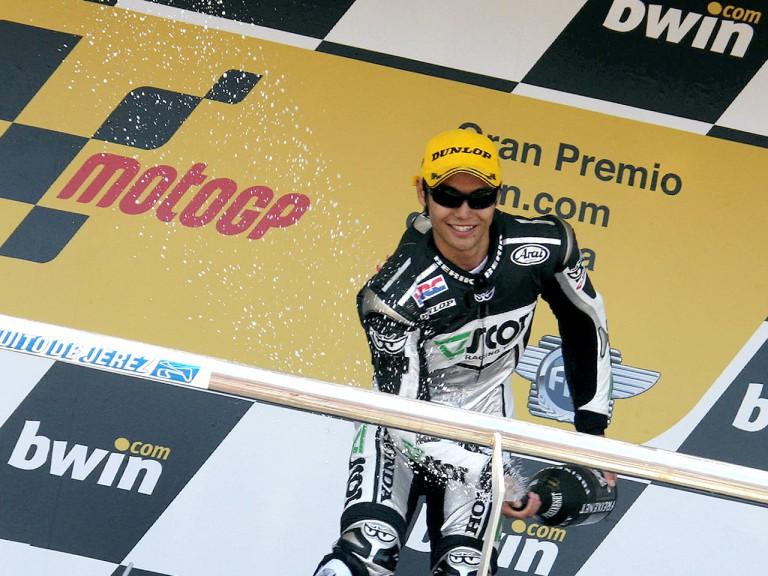 Hiroshi Aoyama celebrating podium at Jerez