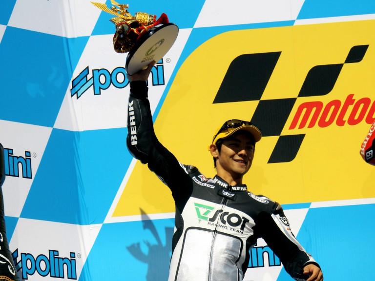Hiroshi Aoyama on the podium at Motegi