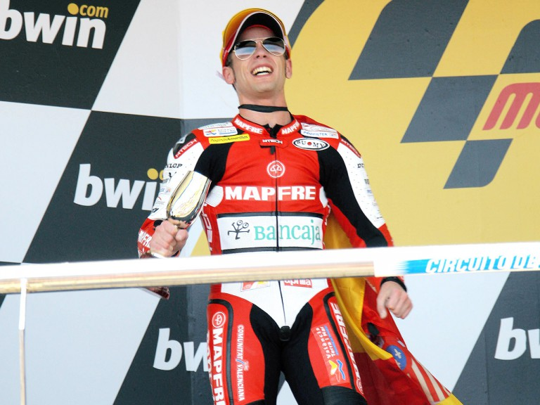 Alvaro Bautista on the podium at Jerez