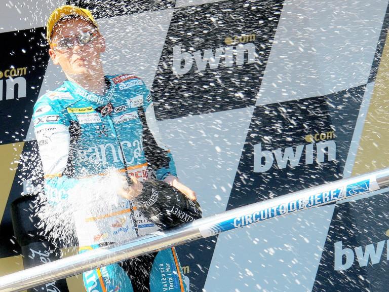 Bradley Smith on the podium at Jerez