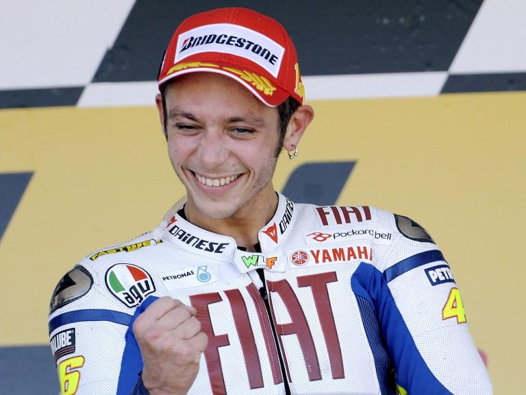 Valentino Rossi celebrates podium at Gran Premio bwin.com de España