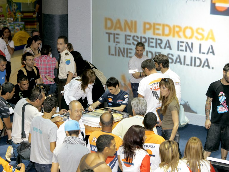 Dani Pedrosa attending local fans at Las Palmas de Gran Canaria