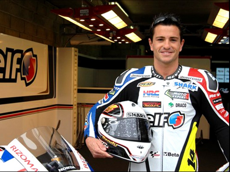 Randy de Puniet in the LCR Honda garage