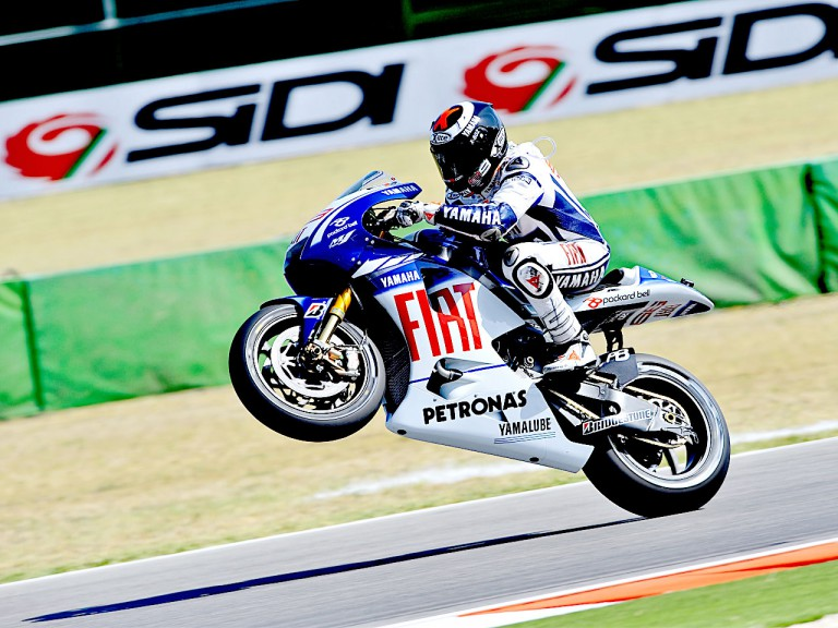 Jorge Lorenzo pulls of a wheelie in Misano