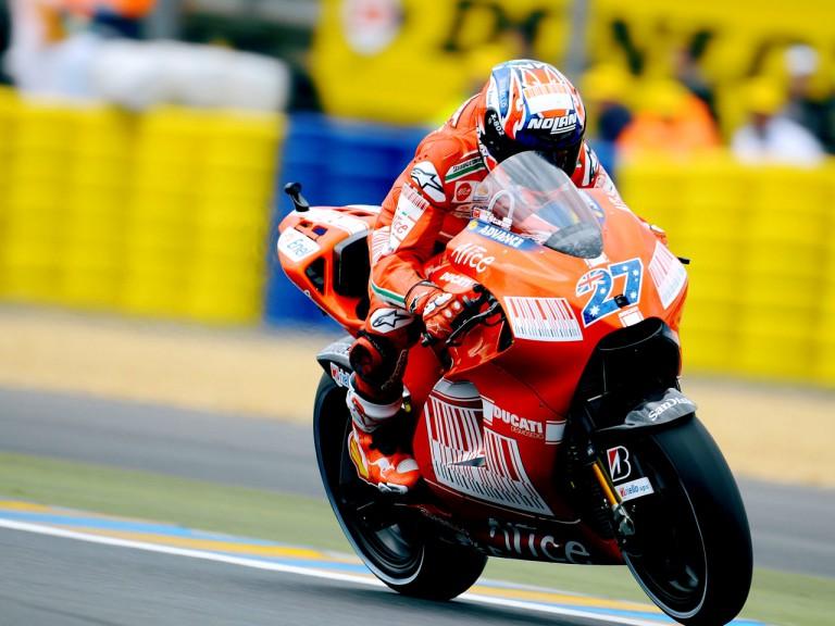 Casey Stoner in actin in Le Mans