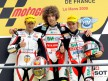 Hector Faubel, Marco Simoncelli and Roberto Locatelli on the podium at Le Mans