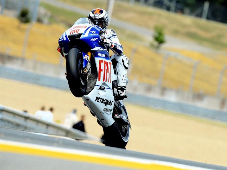 Jorge Lorenzo pulls off a wheelie in Le Mans