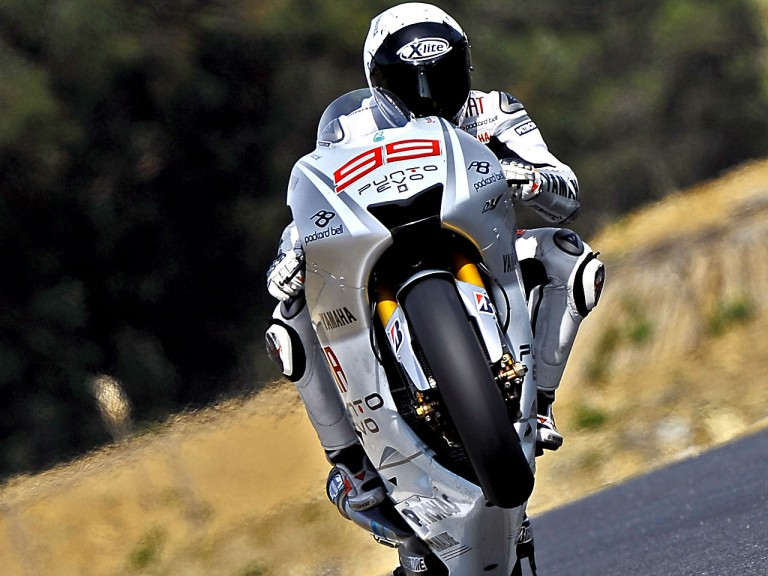 Jorge Lorenzo pulls off a wheelie in Estoril