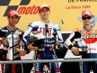 Marco Melandri, Jorge Lorenzo and Dani Pedrosa on th Podium at Le Mans