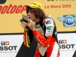 Marco Simoncelli on the podium at Le Mans
