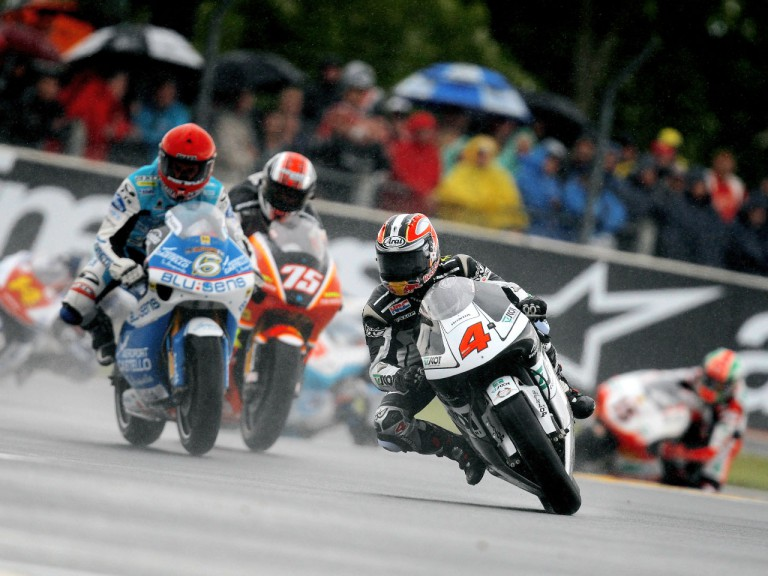 Hiroshi Aoyama riding ahead of 250cc group in Le Mans