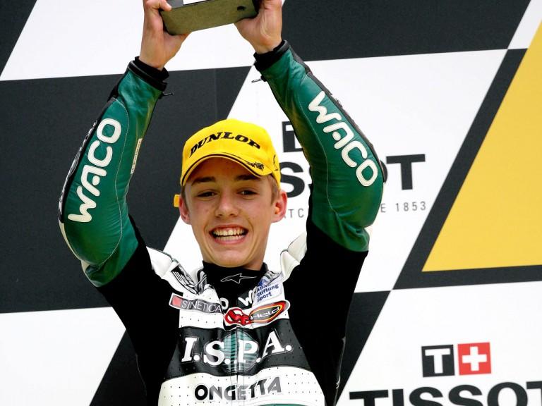 Jonas Folger on the podium at Le Mans