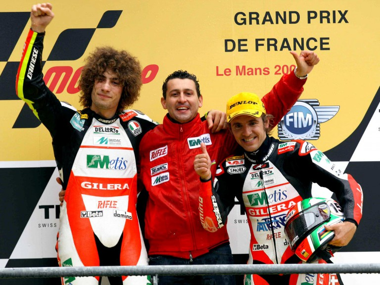Simoncelli and Locatelli with Boscoscuro on the podium at Le Mans