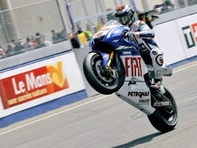 Jorge Lorenzo pulls off a wheelie in Le Mans