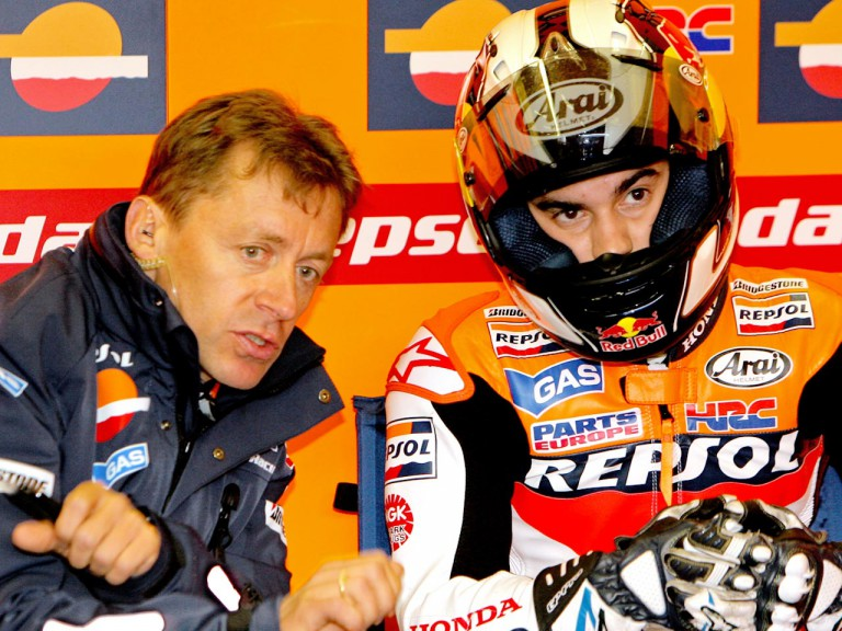 Dani Pedrosa and Mark Leitner in the Repsol Honda garage