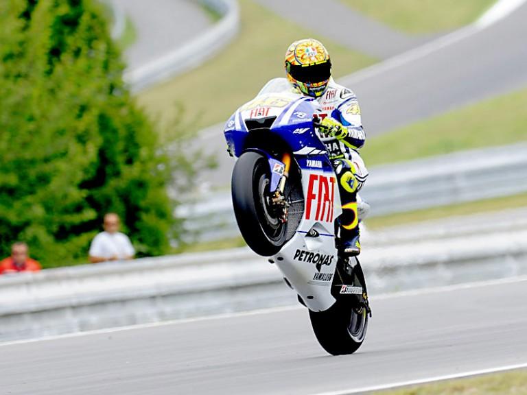 Valentino Rossi pulls off a Wheelie in Brno