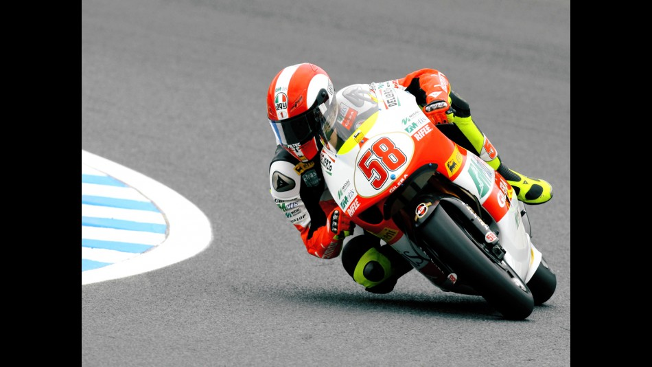 Marco Simoncelli in action in Motegi