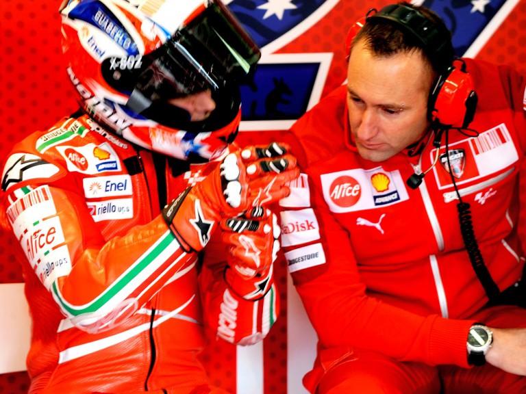 Casey Stoner in the Ducati garage