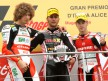 Marco Simoncelli, Mattia Pasini and Alvaro Bautista on the Podium at Mugello