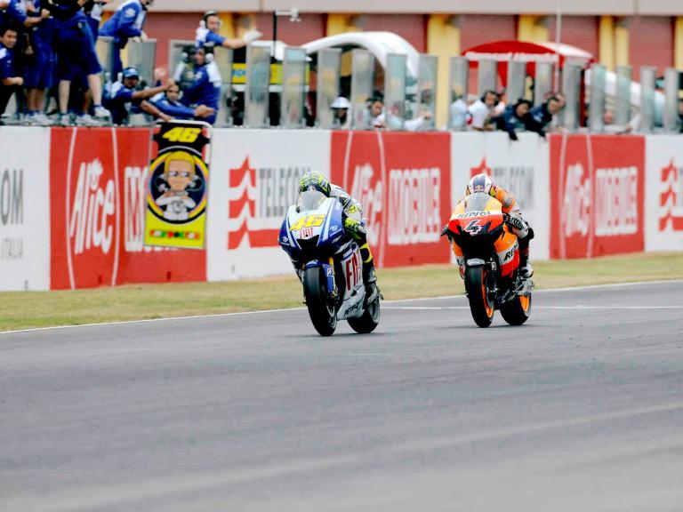 Valentino Rossi riding ahead of Andrea Dovizioso in Mugello