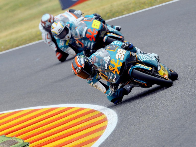 Bradley Smith riding ahead of 125cc group in Mugello