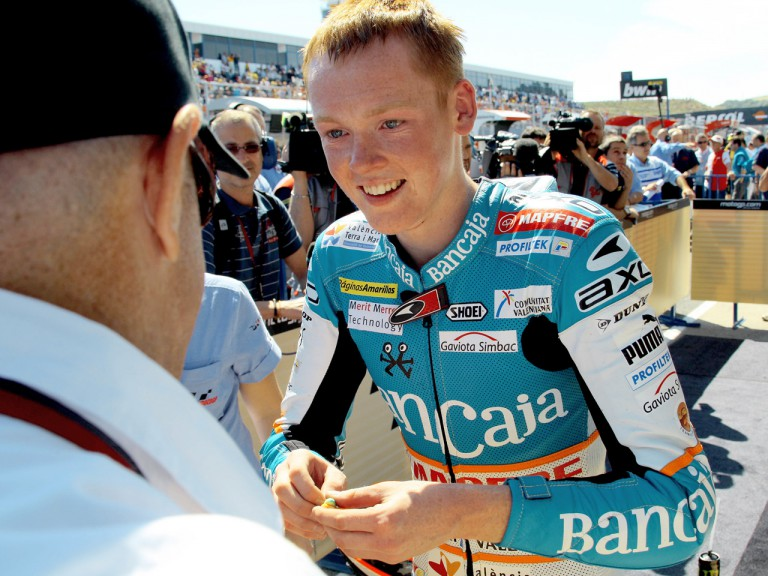 Bradley Smith in Parc Fermé afeter 125cc race in Jerez