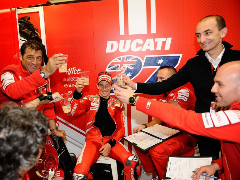 Ducati Team celebrates Stoner´s victory at Mugello