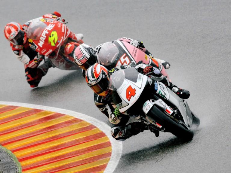 Hiroshi Aoyama riding ahead of Pasini and Bautista in Mugello