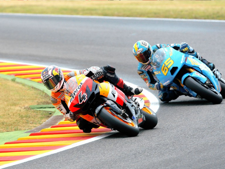 Andrea Dovizioso riding ahead of Loris Capirossi in Mugello