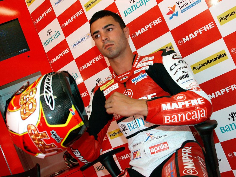 Mike di Meglio in the Mapfre Aspar garage