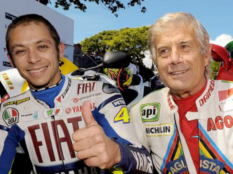 Valentino Rossi and Giacomo Agostini at Isle of Man TT
