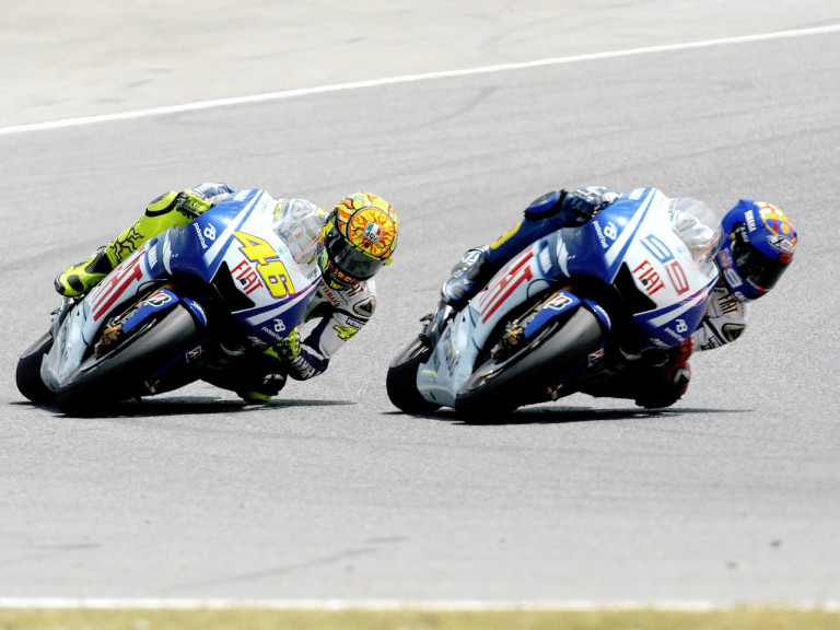 Valentino ROssi and Jorge Lorenzo riding head to head during the MotoGP Catalunya race
