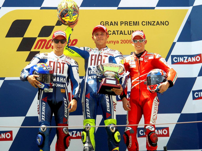 Jorge Lorenzo, Valentino Rossi and Casey Stoner on the podium at Montmeló